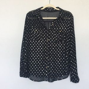 Monteau polka black blouse with gold detail